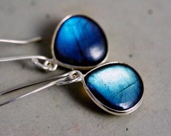 Blue Labradorite Drop Earrings, Flashy Labradorite Gemstone Dangle Earrings on Fine Silver