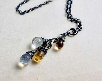 Moonstone and Topaz Necklace, Rainbow Moonstone and Imperial Topaz Drop Pendant on Sterling Silver
