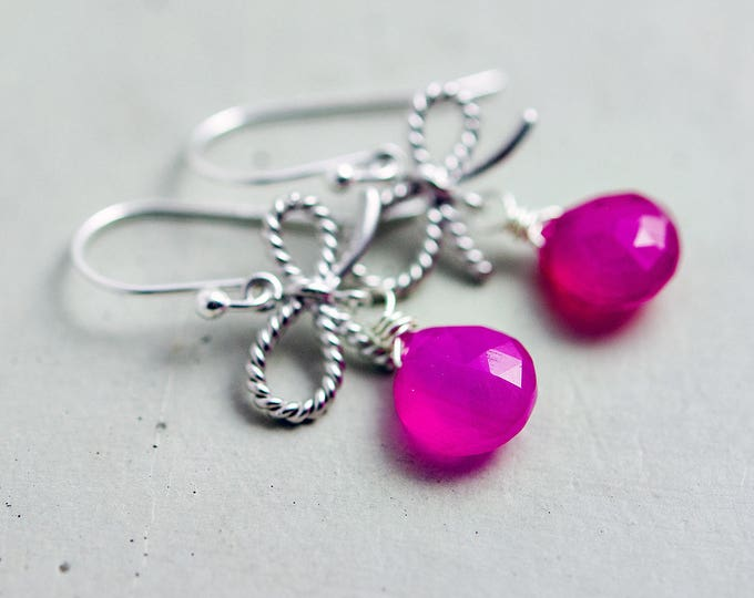 Hot Pink Drop Earrings Sterling Silver, Bow Charm, Neon, Dangle Earrings,