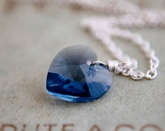 Denim Blue Swarovski Crystal Heart Pendant Necklace on Sterling Silver Mothers Day Gift