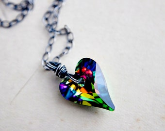 Rainbow Heart Swarovski Crystal Heart Pendant Necklace on Sterling Silver Mothers Day Gift
