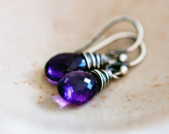 Amethyst Drop Earrings, Purple Crystal Dangle Earrings