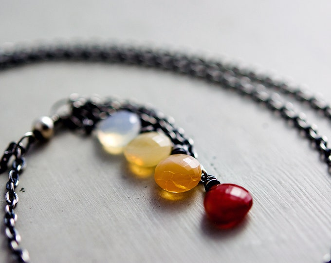 Mexican Fire Opal Necklace, Ombre Gemstone Cascade on Sterling Silver