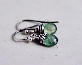 Moss Aquamarine Dangle Earrings Infinity Charm Sterling Silver March Birthstone
