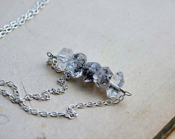 Herkimer Diamond Necklace, Modern April Birthstone Jewelry in Sterling Silver