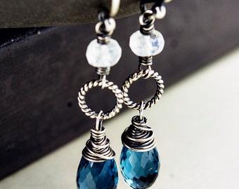 London Blue Topaz Chandelier Earrings, Moonstone and December Birthstone Dangles on Sterling Silver