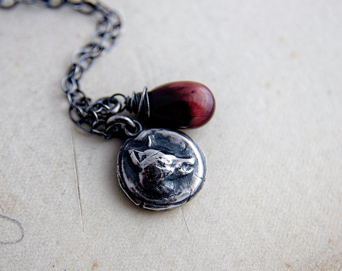Fox Charm Necklace, Rust Red Tigers Eye on Sterling Silver, Fox Head Button Charm