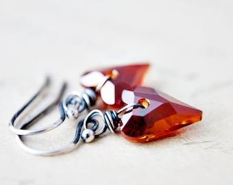 Crystal Earrings, Dangle Earrings, Heart Earrings, Crystal Hearts, Swarovski Crystal, Swarovski Hearts, Sterling Silver, Drop Earrings