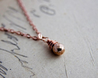 Rose Gold Necklace, Pyrite Necklace, Pyrite Pendant, 14K Rose Gold Filled, Pyrite Jewelry, copper, Wire wrapped, PoleStar jewelry,