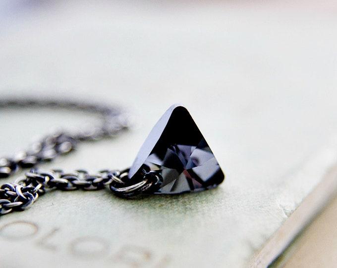 Crystal Necklace, Swarovski Triangle, Triangle Pendant, Crystal Jewelry, Crystal Necklace, Geometric Necklace
