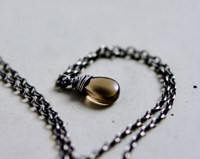 Smokey Quartz, Quartz Necklace, Wire Wrapped, Chocolate Quartz, Gemstone Necklace, Gemstone Pendant, Crystal Pendant, Crystal Jewelry