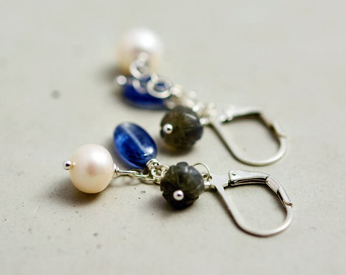 Seaside Earrings, Dangle Earrings, Pearl Earrings, Drop Earrings, Kyanite Blue,  Sterling Silver, Nautical Earrings