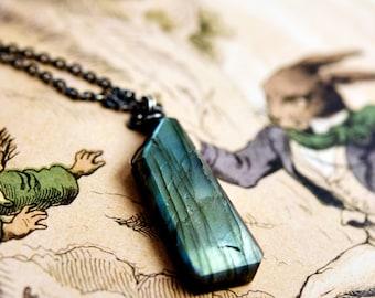 Labradorite Shard Pendant Necklace, Blue Gemstone Sterling Silver Necklace