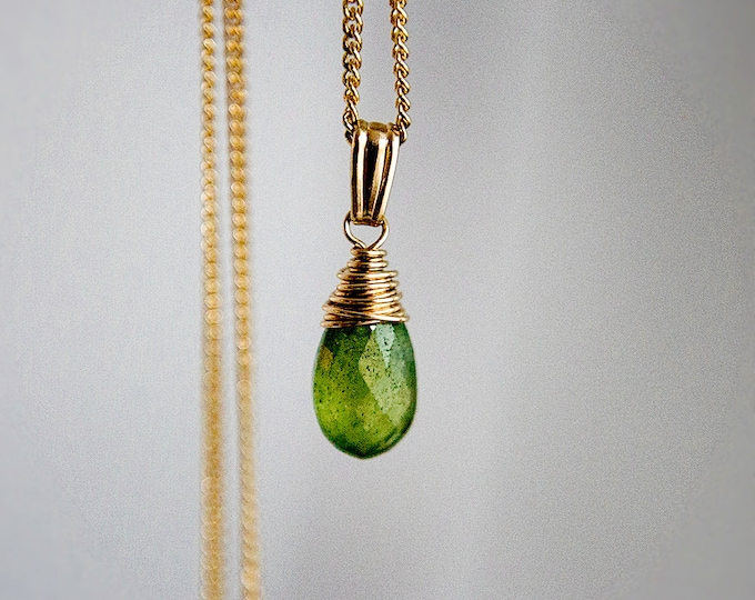 Vesuviante Necklace, Vesuviante Pendant, Gold Necklace, Gemstone Pendant, Gemstone Necklace, Wire Wrapped, PoleStar, Grass Green