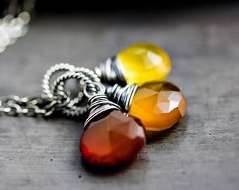 Autumn Necklace, Three in One, Customizable Necklace, Crystal Necklace, Red, Orange, Yellow, chalcedony necklace