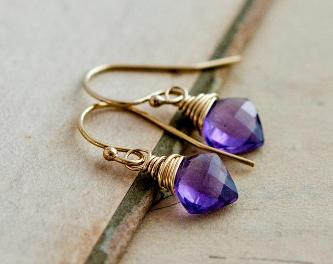 Amethyst Earrings, Diamond Gems, Amethyst Jewelry, Wire Wrapped, 14K gold filled, February Birthstone, Grape, plum, PoleStar, Gold Jewelry