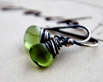 Green Earrings Gemstone Jewelry Peridot Birthstone August Dangle Silver