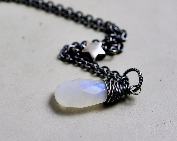 Moonstone Necklace, Moon and Stars, Crystal Necklace, Celestial Necklace, Sterling Silver