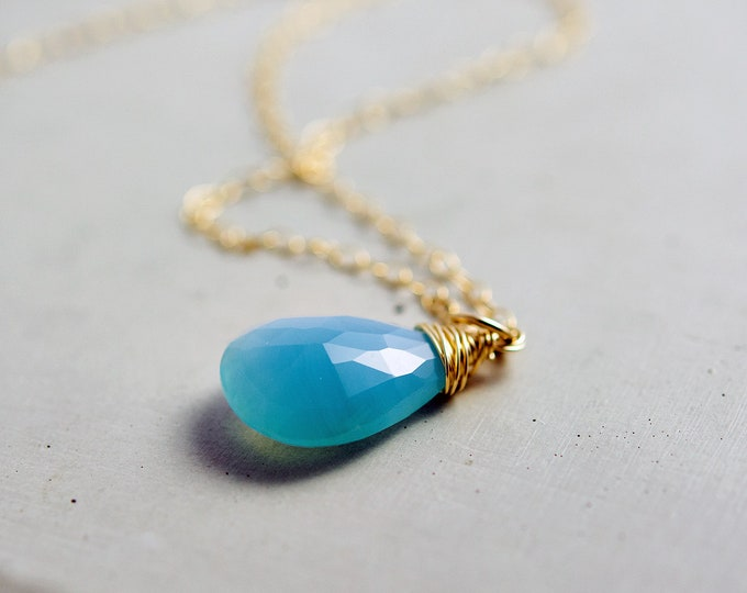 Chalcedony Necklace, Gemstone Necklace, Gold Necklace, Sky Blue, Pale Blue, Pastel Blue, Gemstone Jewelry, Gold Jewelry, PoleStar