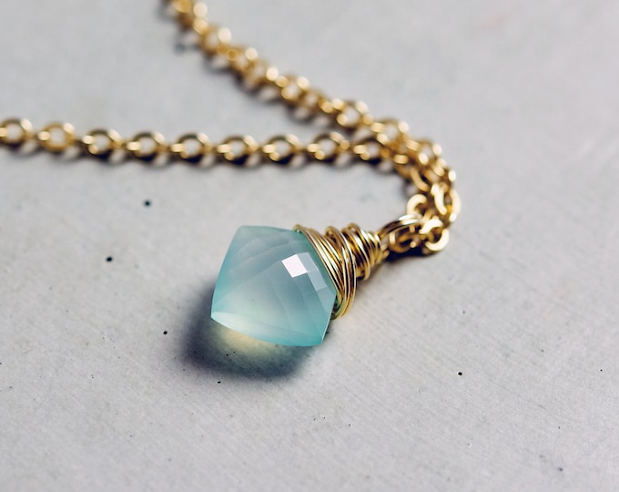 Aqua Pendant Necklace, Geometric Necklace, Blue Chalcedony, 14K gold filled, Beach Jewelry, Wedding Jewelry, Bridal Necklace, PoleStar