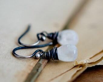Moonstone Earrings, Drop Earrings, Wire Wrapped, Dangle Earrings, Moonstone Jewelry, Sterling Silver, Galaxy, PoleStar, Oxidized