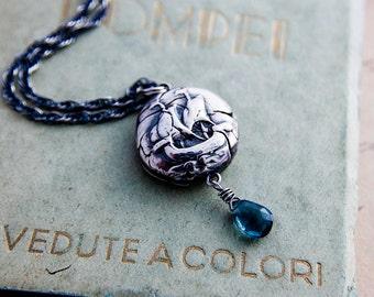 Viking Ship Necklace, Nautical Necklace, Sailing Necklace, Coin Pendant, Ship Pendant, London Blue Topaz, Birthstone Jewelry, PoleStar