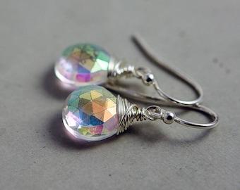 Rainbow Crystal Quartz Drop Earrings, Mystic Crystal Gemstones on Sterling Silver, Sparkly Multicolored Quartz Dangle Earrings, Unicorn