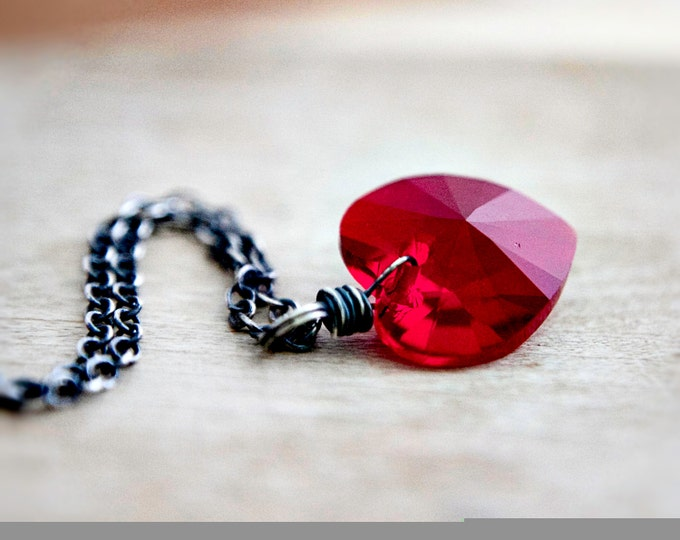 Crystal Heart Necklace, Crystal Heart, Crystal Pendant, Heart Pendant, Swarovski Heart, Swarovski Crystal, Red Heart, Valentine Necklace