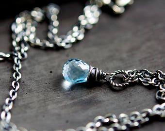 Sky Blue Topaz Necklace, December Birthstone Crystal Pendant on Sterling Silver