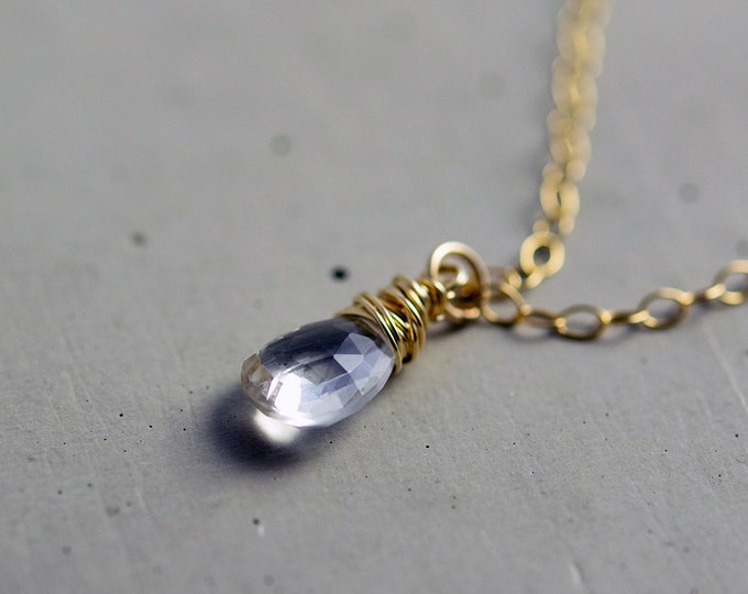 Crystal Quartz Gold Necklace, Crystal Quartz Pendant, Gemstone Necklace