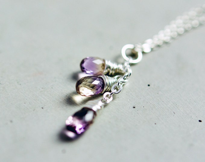 Ametrine Gemstone Chandelier Pendant Necklace, Citrine and Amethyst Crystals on Sterling Silver
