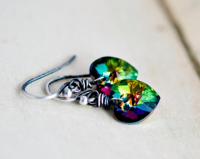 Crystal Earrings, Heart Earrings, Drop Earrings, Crystal Jewelry, Valentine Jewelry, Swarovski Heart, Swarovski Crystal, Vitral