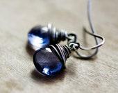 Purple Hydroquartz Crystal Drop Earrings Wire Wrapped in Sterling Silver
