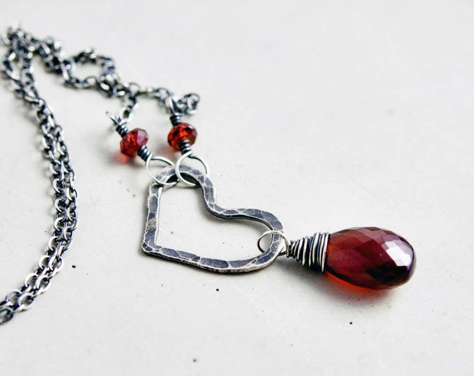 Red Garnet Love Necklace, Hammered Heart on Sterling Silver for January Birthdays
