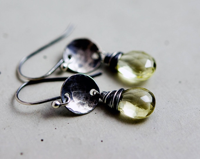 Lemon Quartz Drop Earrings, Rustic Sterling Silver Yellow Crystal Dangle Earrings