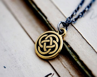 Celtic Knot Necklace, Brass Celtic Charm on Sterling Silver