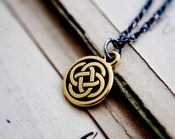 Celtic Knot Necklace, Brass Celtic Charm on Sterling Silver