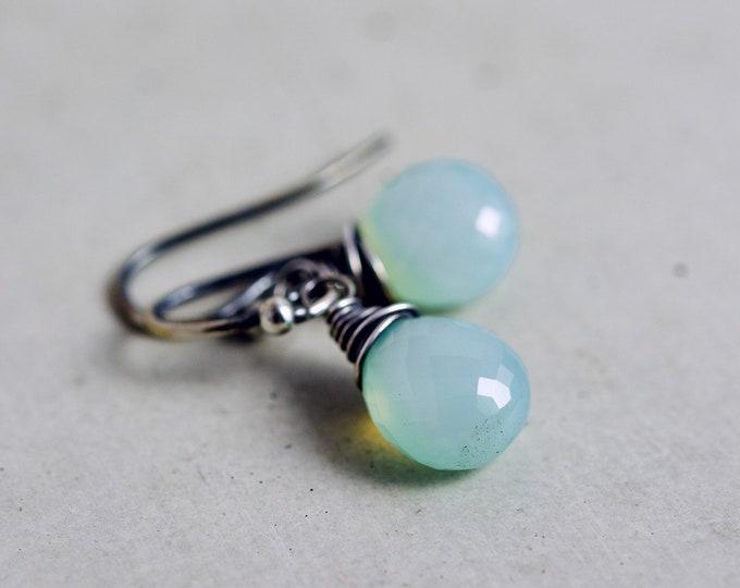 Sky Blue Chalcedony Drop Earrings, Blue Gemstone Dangle Earrings