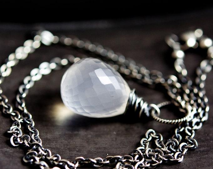 Long Necklace Sterling Silver Oxidized White Hydroquartz Iolite polestar