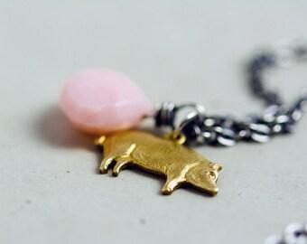 Ham Snack Charm Necklace, Brass Pig Charm, Pink Opal, October Birthstone, Sterling Silver, PoleStar