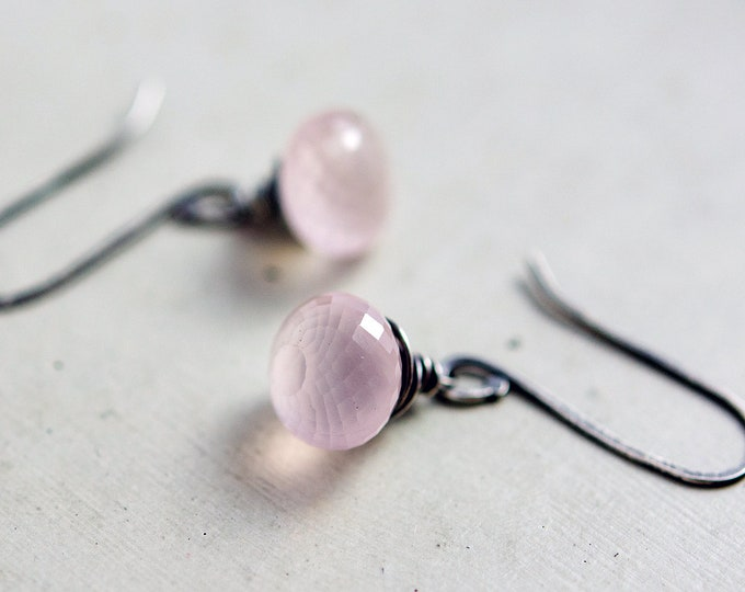 Rose Quartz Drop Earrings, Pale Pink Crystal Dangle Earrings on Sterling Silver