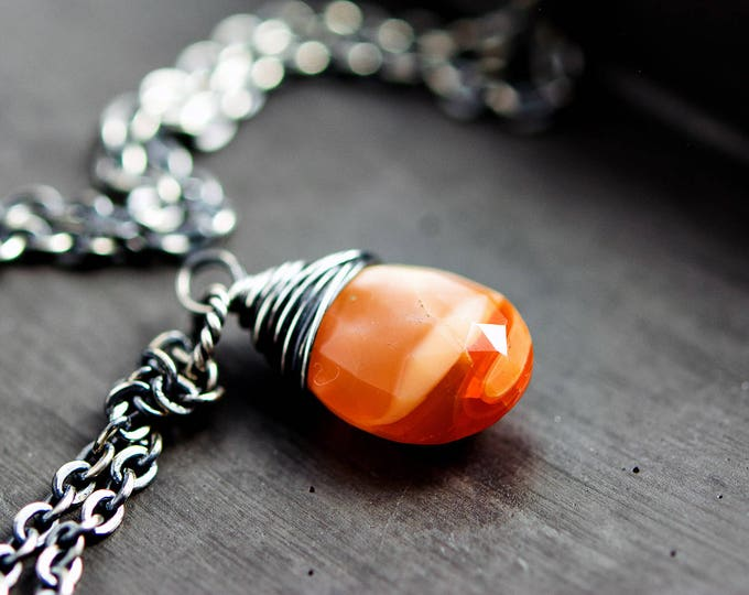 Mexican Fire Opal Necklace, Orange Gemstone Necklace, Crystal Drop Necklace, Sterling Silver Opal Necklace