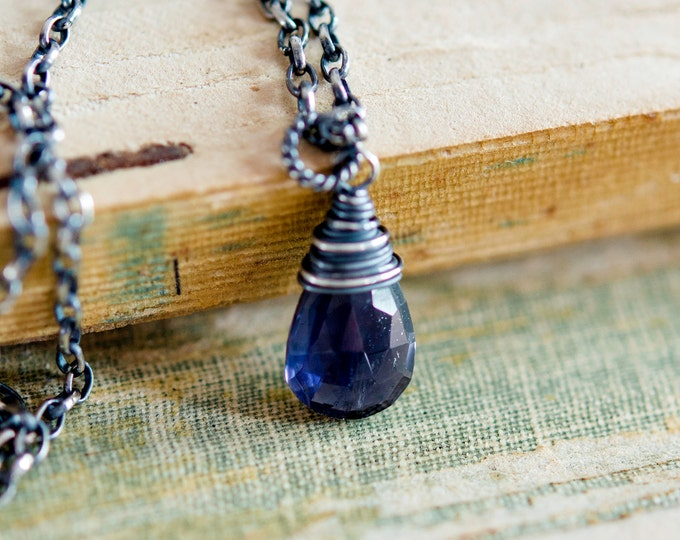 Gemstone Necklace, Iolite Necklace, Crystal Jewelry, Crystal Pendant, Blue Iolite, Gemstone Pendant, Sterling Silver, PoleStar Jewelry,