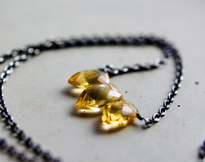 Citrine Pennant Necklace, Fancy Cute Yellow Crystals on Sterling Silver