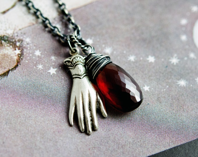 Protective Hand Charm Necklace, Dark Red Garnet Pendant Necklace, Brass Hand Charm with January Birthstone on Sterling Silver