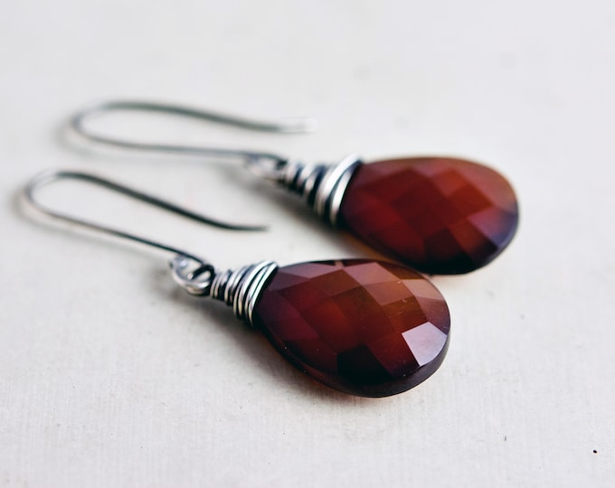 Dark Orange Chalcedony Drop Earrings, Wire Wrapped Red Crystal Dangle Earrings
