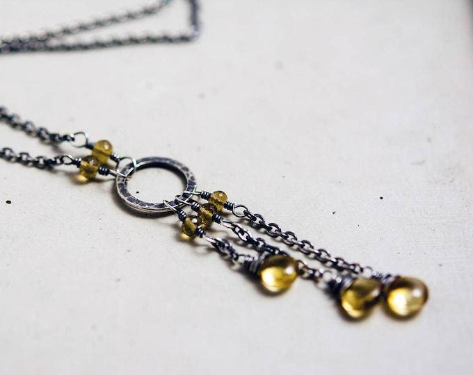 Citrine Crystal Necklace, Citrine Birthstone Necklace, Dangle Citrine Pendant