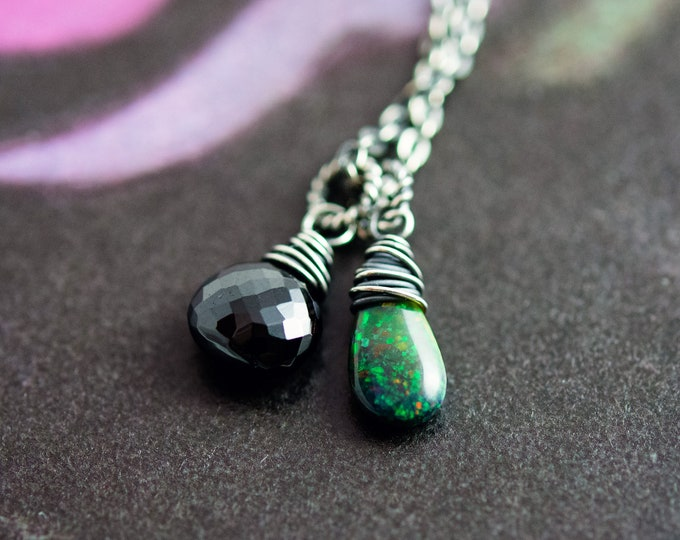 Opal and Onyx Necklace, Black Onyx and Black Opal on Sterling Silver