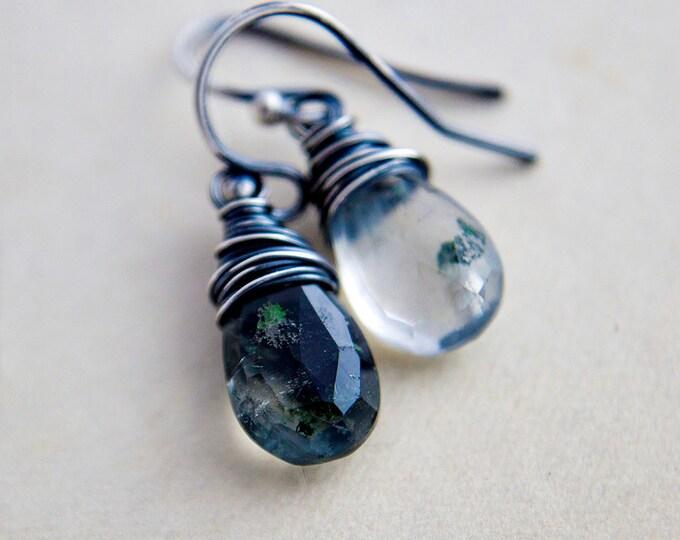Garden Quartz Drop Earrings, Lodolite Dangles in Sterling Silver Wire Wrap