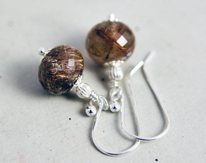 Copper Rutilated Quartz Earrings, Rust Brown Drop Earrings,